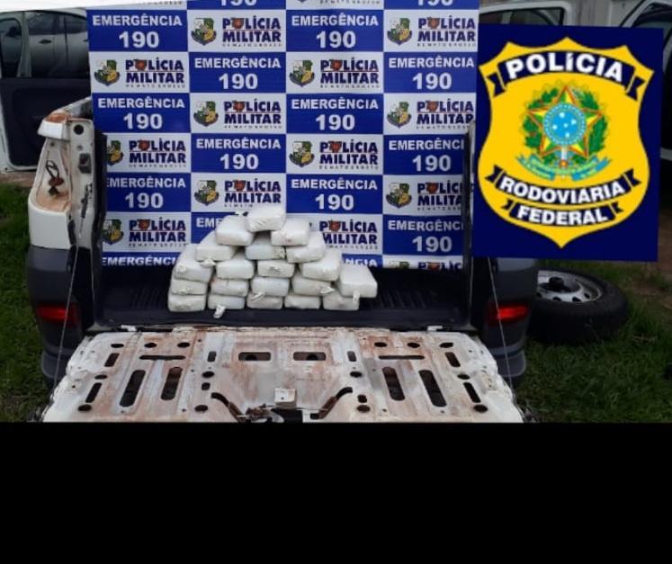 Ação da PM e PRF prende um homem e apreende 22 kg de pasta base