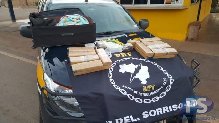 PRF de Sorriso prende mulher com 15kg de droga dentro da mala