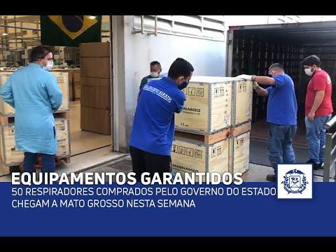 50 respiradores comprados pelo Governo do Estado chegam a Mato Grosso nesta semana